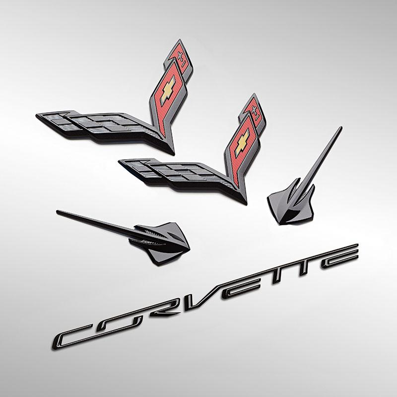One Stop Shop 2014-2019 Chevrolet C7 Corvette Carbon Flash Emblem Kit 23465587 Fender Stingray Emblems